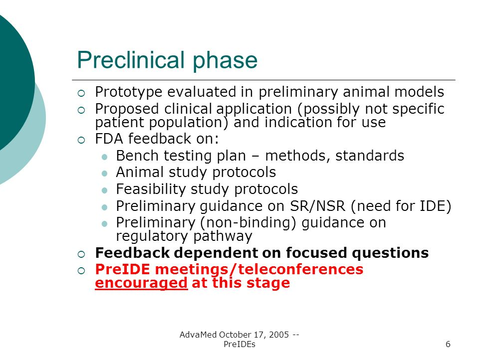 AdvaMed October 17, PreIDEs