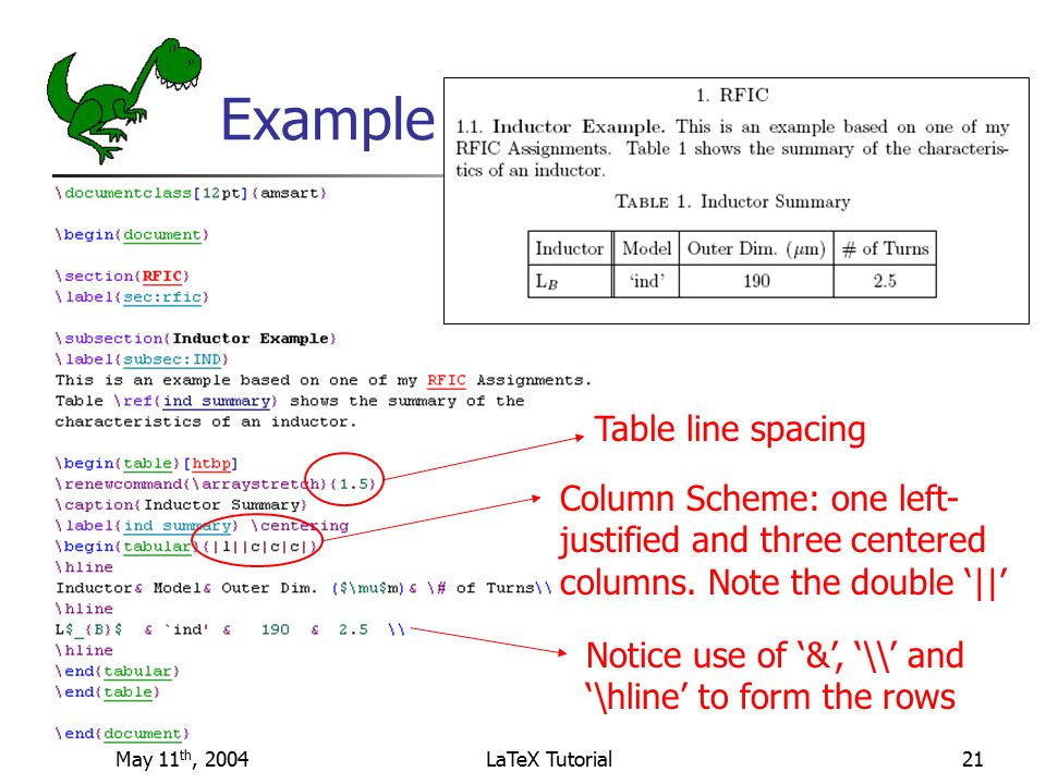 Latex example table spanning multiple columns — 13
