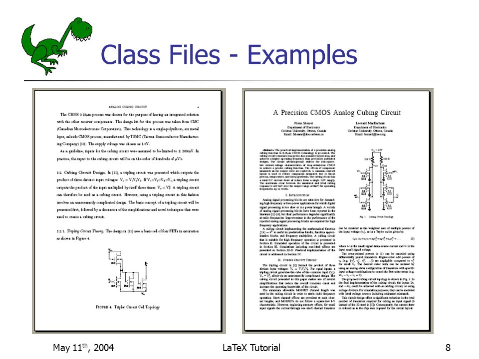 LaTeX Tutorial Fiona Shearer May 11th, 2004 Disclaimer added