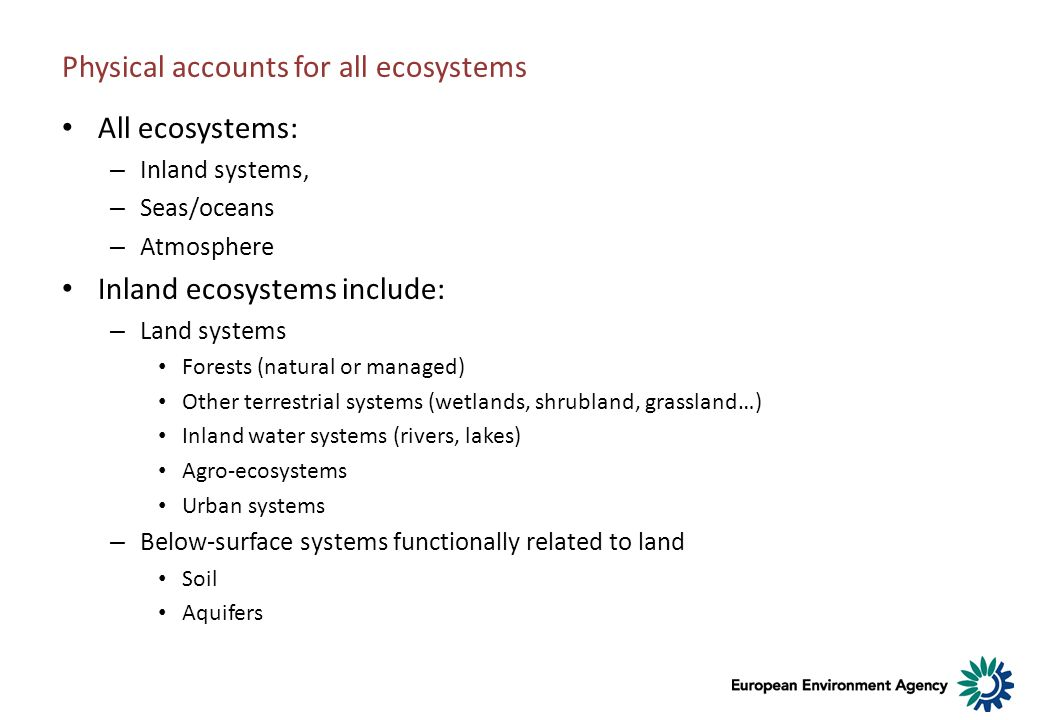 Physical accounts for all ecosystems