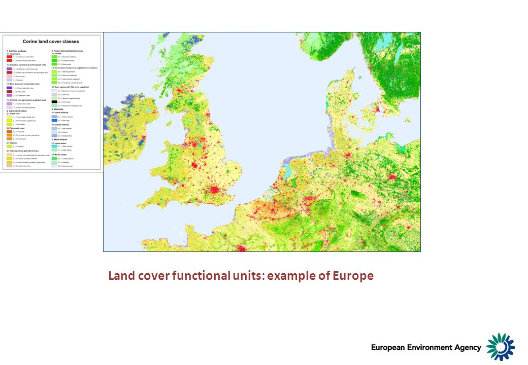 Land cover functional units: example of Europe