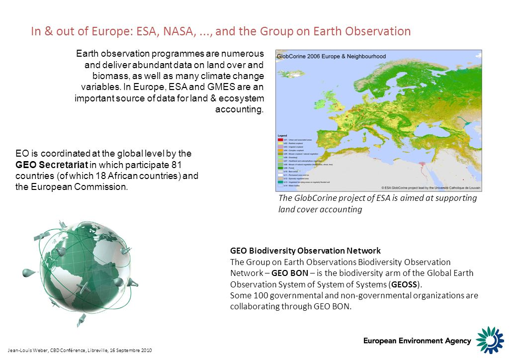 In & out of Europe: ESA, NASA, ..., and the Group on Earth Observation