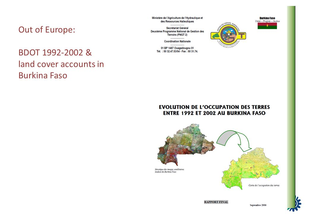 Out of Europe: BDOT 1992-2002 & land cover accounts in Burkina Faso