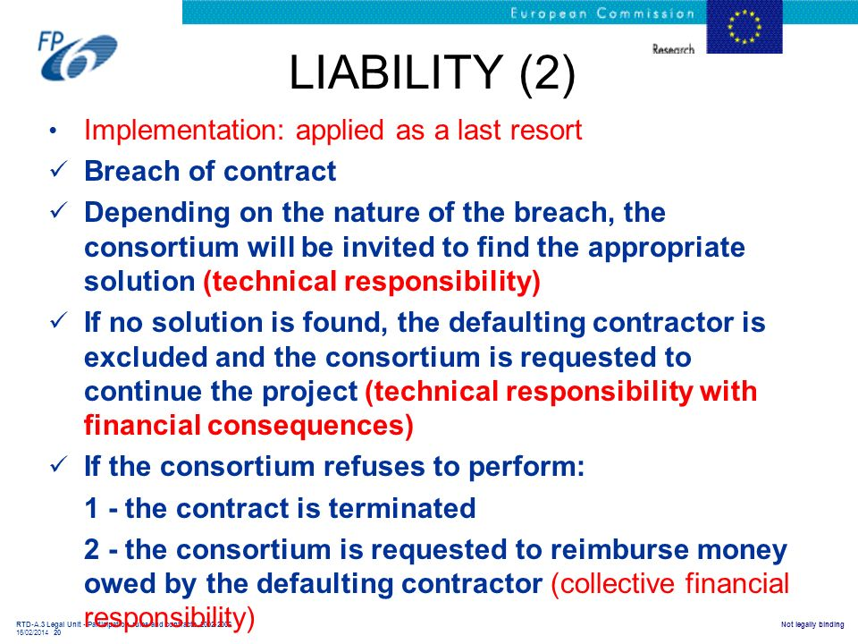 LIABILITY (2) Implementation: applied as a last resort