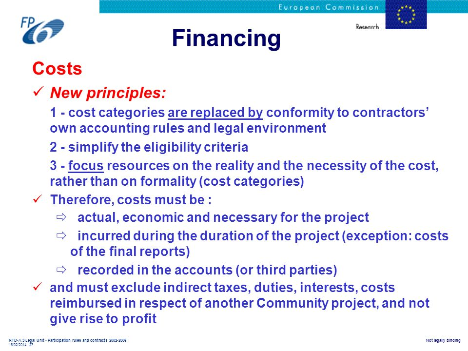Financing Costs New principles: