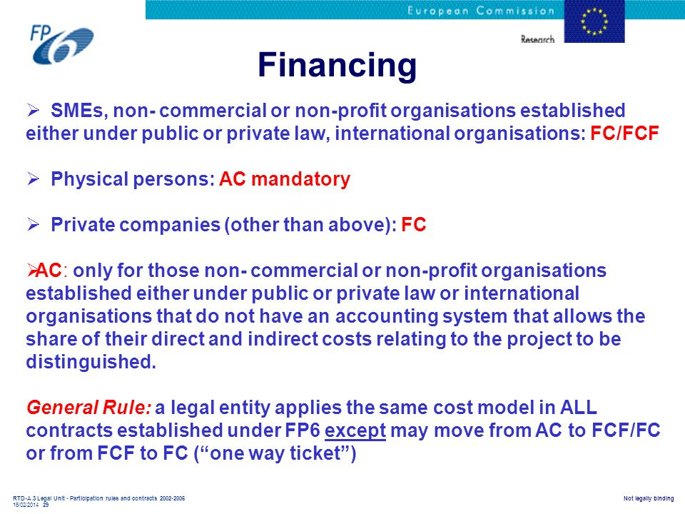 Financing SMEs, non- commercial or non-profit organisations established either under public or private law, international organisations: FC/FCF.