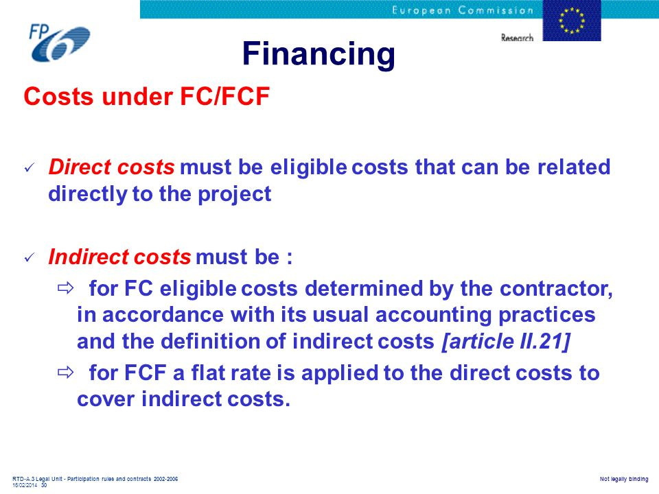 Financing Costs under FC/FCF