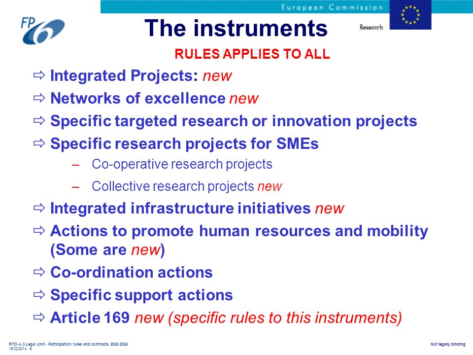 The instruments Integrated Projects: new Networks of excellence new