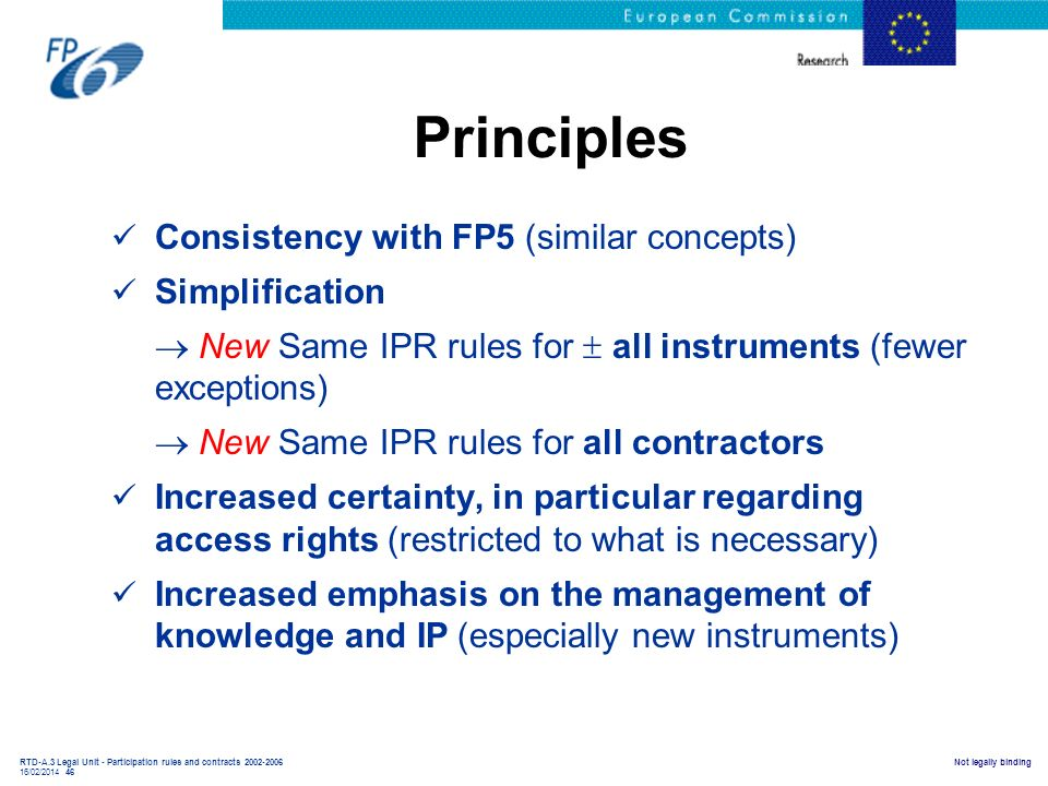 Principles Consistency with FP5 (similar concepts) Simplification