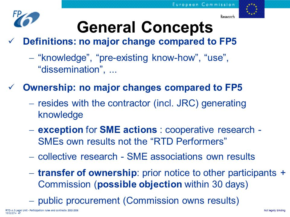 General Concepts Definitions: no major change compared to FP5