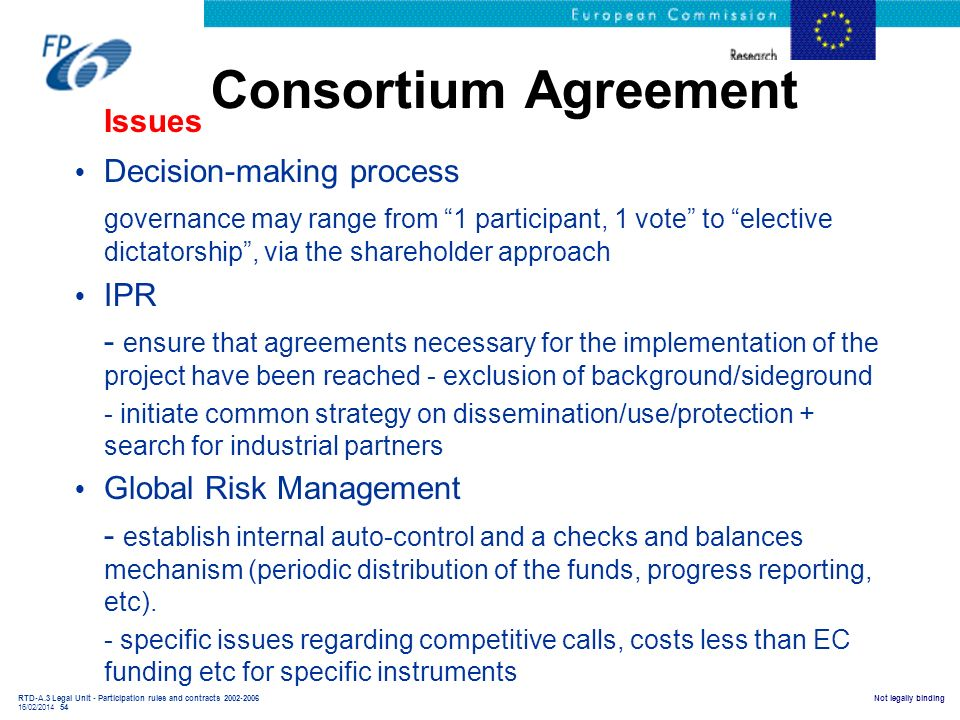 Consortium Agreement Issues Decision-making process