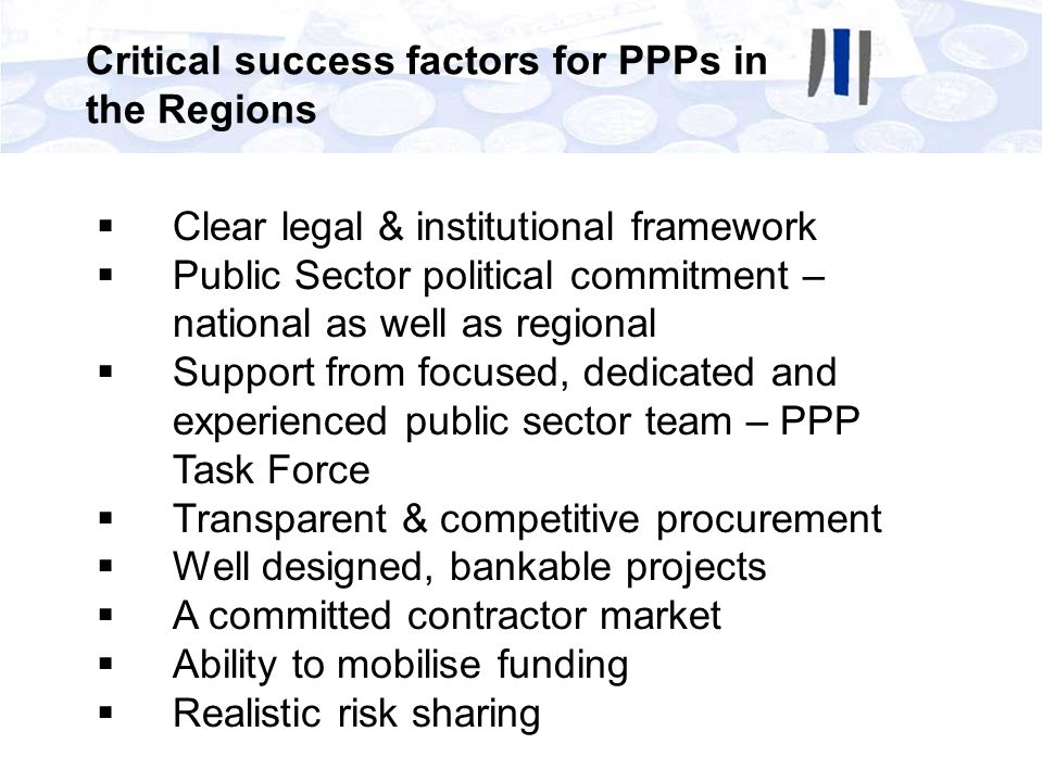 Critical success factors for PPPs in the Regions
