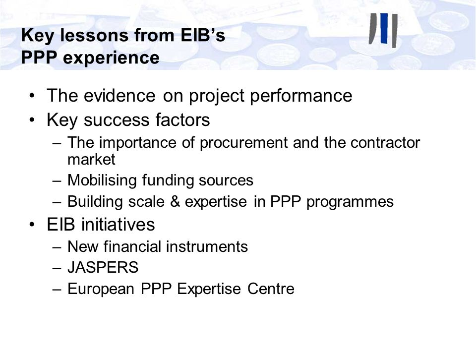 Key lessons from EIB's PPP experience