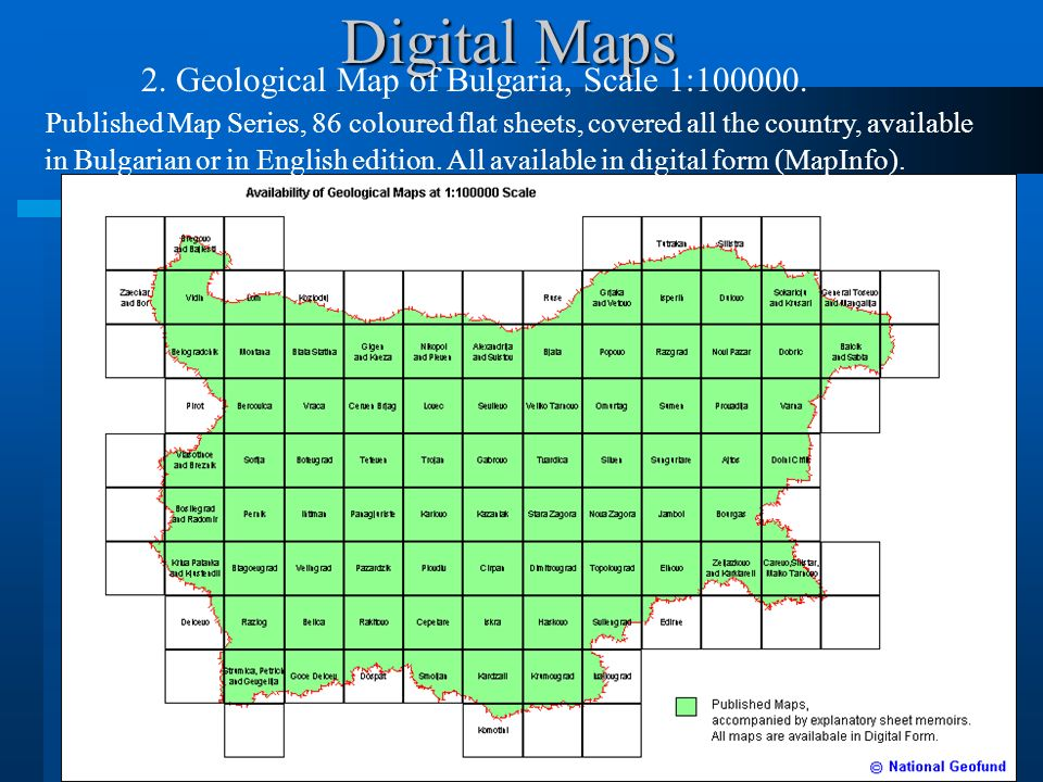 Digital Maps 2. Geological Map of Bulgaria, Scale 1:100000.