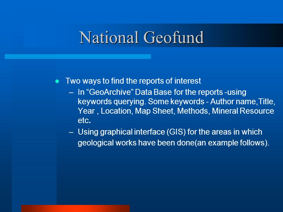 National Geofund Two ways to find the reports of interest