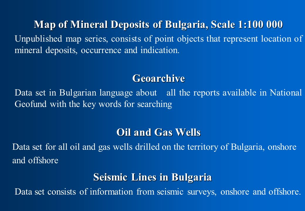 Map of Mineral Deposits of Bulgaria, Scale 1:100 000