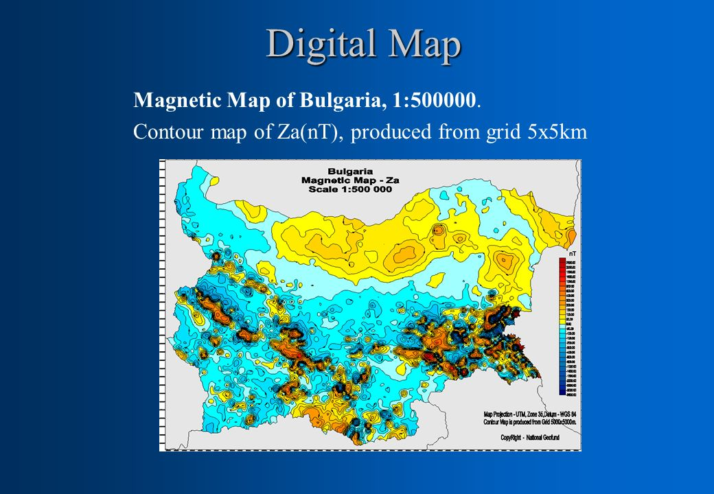 Digital Map Magnetic Map of Bulgaria, 1:500000.