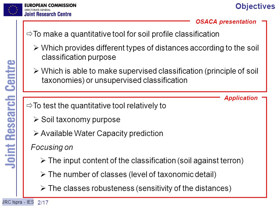 To make a quantitative tool for soil profile classification