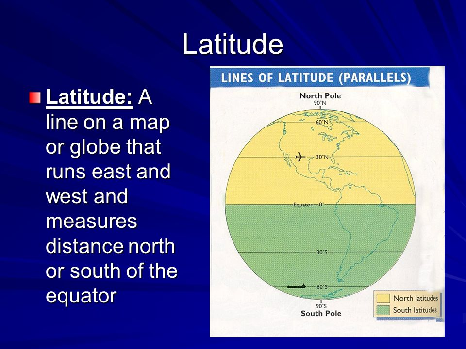 Latitude Latitude: A line on a map or globe that runs east and west and measures distance north or south of the equator.