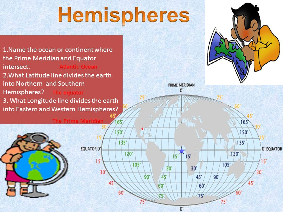 Hemispheres Name The Ocean Or Continent Where The Prime Meridian And Equator  Intersect.