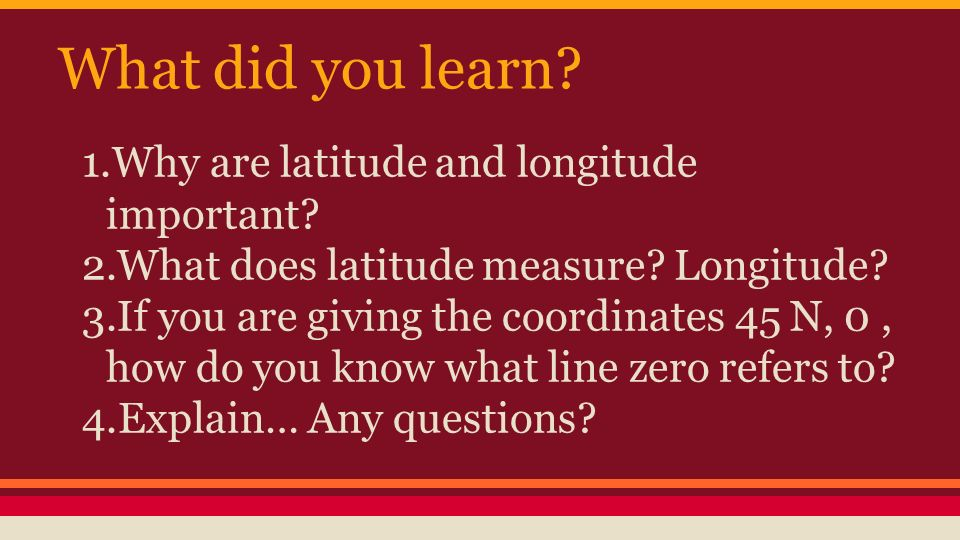 What did you learn Why are latitude and longitude important