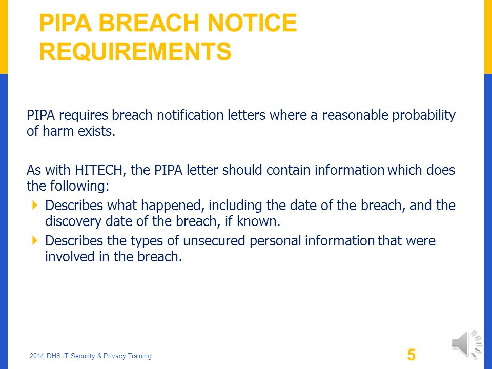 PIPA Breach Notice Requirements