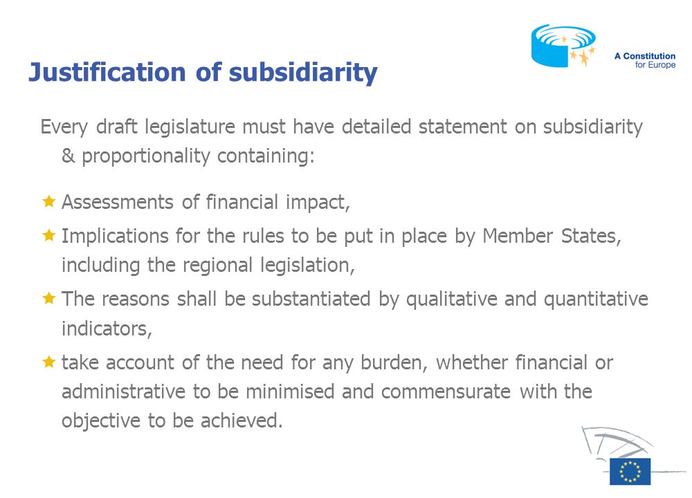 Justification of subsidiarity