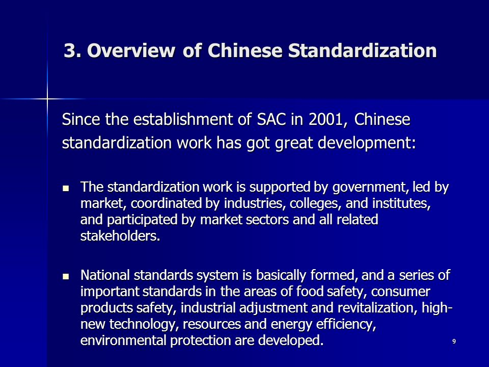 3. Overview of Chinese Standardization