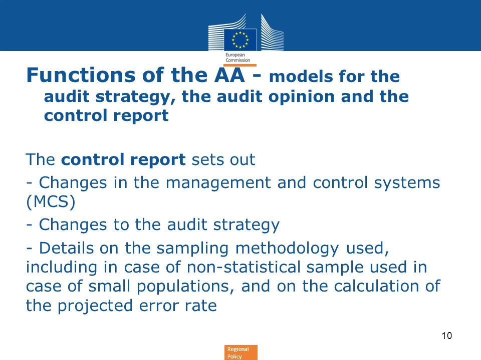Functions of the AA - models for the audit strategy, the audit opinion and the control report