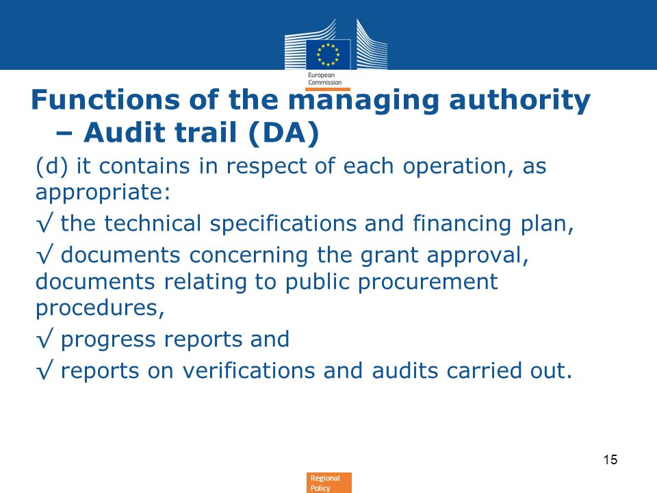 Functions of the managing authority – Audit trail (DA)