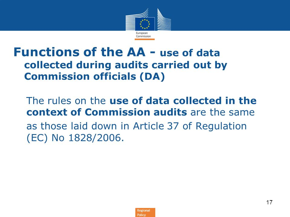 Functions of the AA - use of data collected during audits carried out by Commission officials (DA)