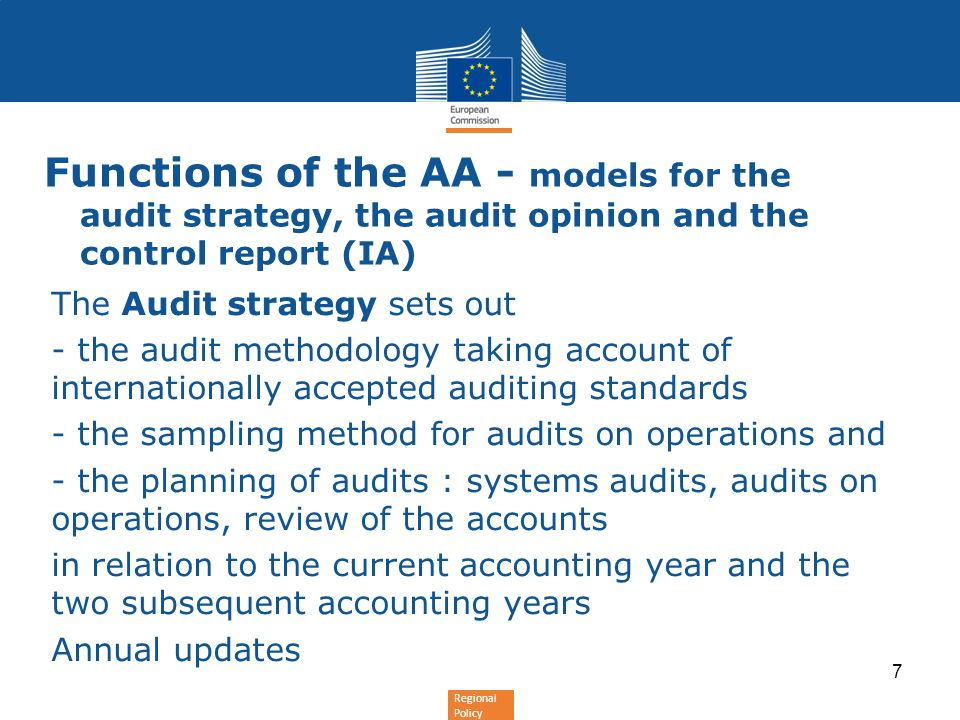 Functions of the AA - models for the audit strategy, the audit opinion and the control report (IA)