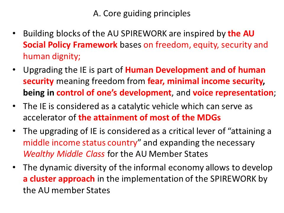 A. Core guiding principles