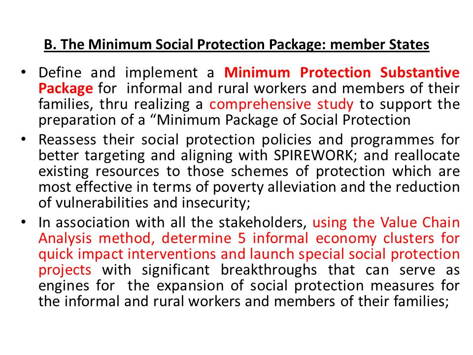 B. The Minimum Social Protection Package: member States