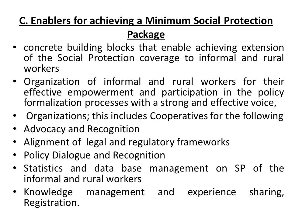 C. Enablers for achieving a Minimum Social Protection Package