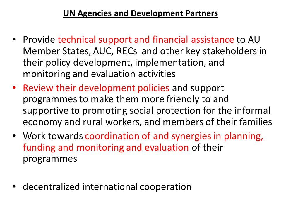 UN Agencies and Development Partners