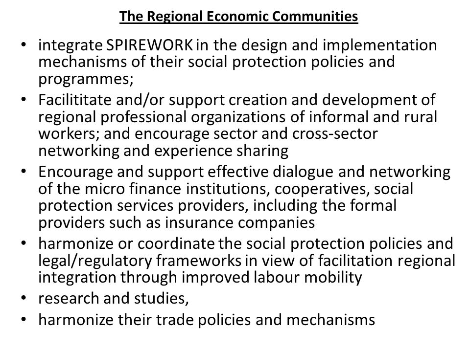 The Regional Economic Communities