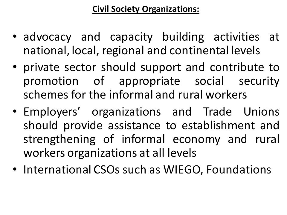 Civil Society Organizations: