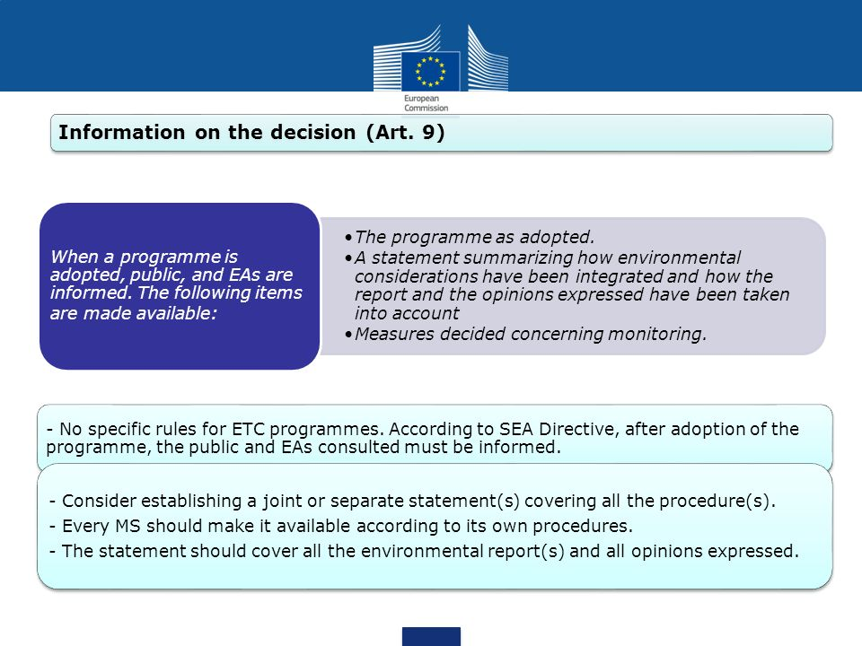 Information on the decision (Art. 9)