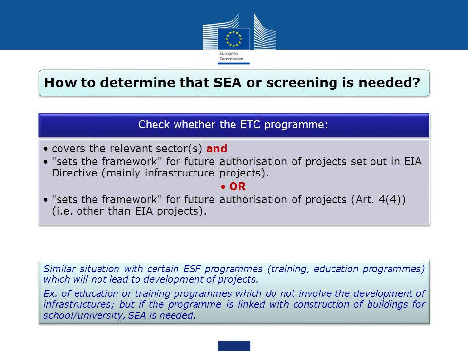 Check whether the ETC programme: