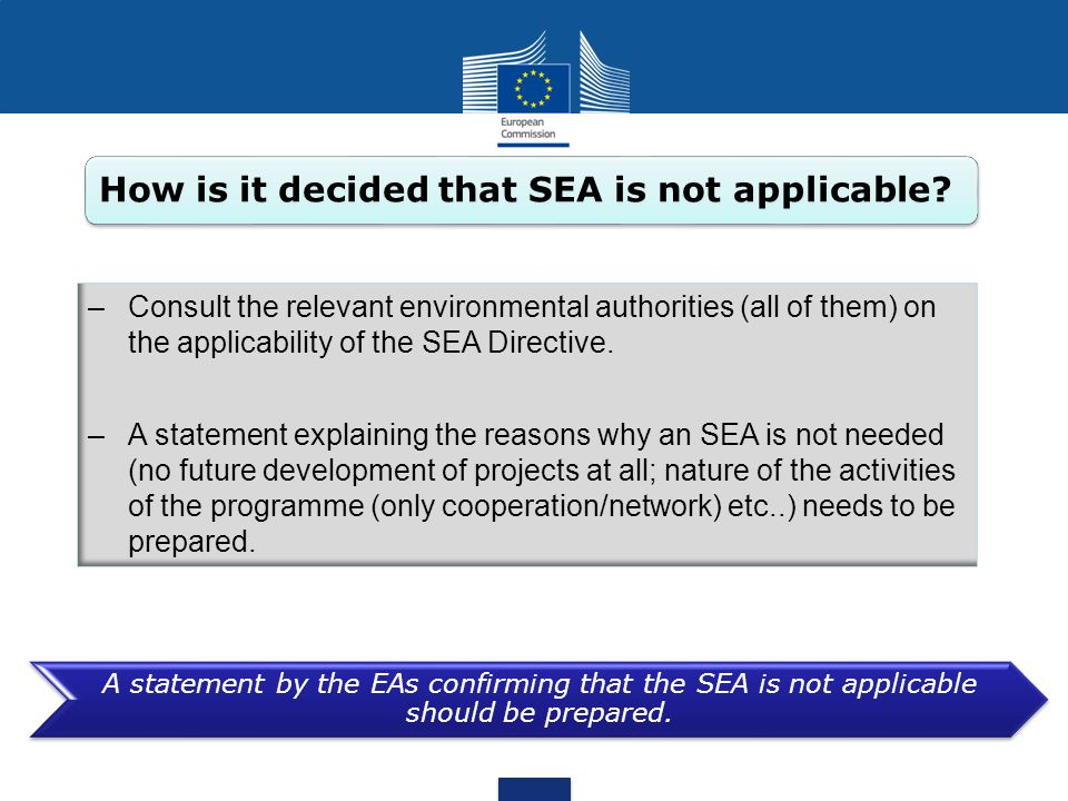 How is it decided that SEA is not applicable