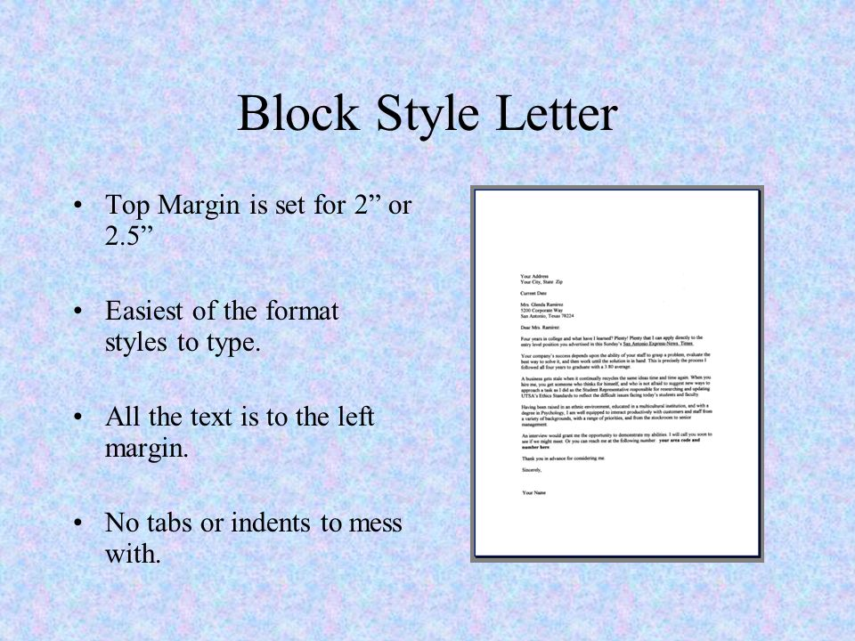 Ms word and business letters parts of a letter ppt download block style letter top margin is set for 2 or 25 spiritdancerdesigns Gallery
