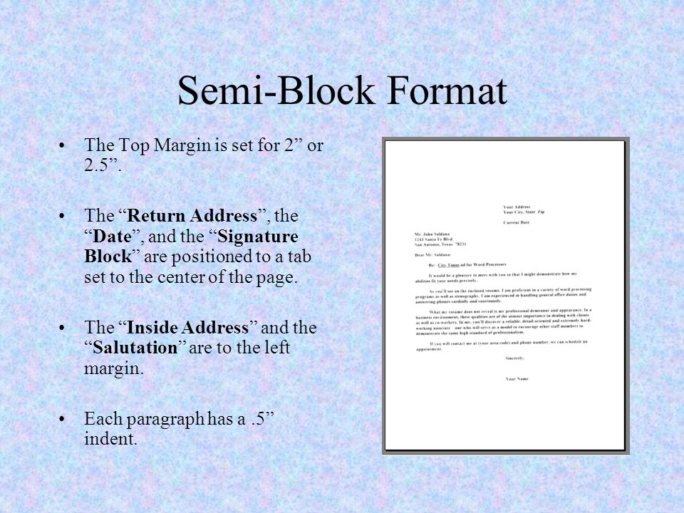 Block Style Letter Format from slideplayer.com