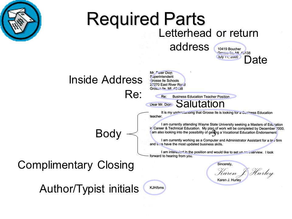Parts Of A Business Letters Ppt Video Online Download