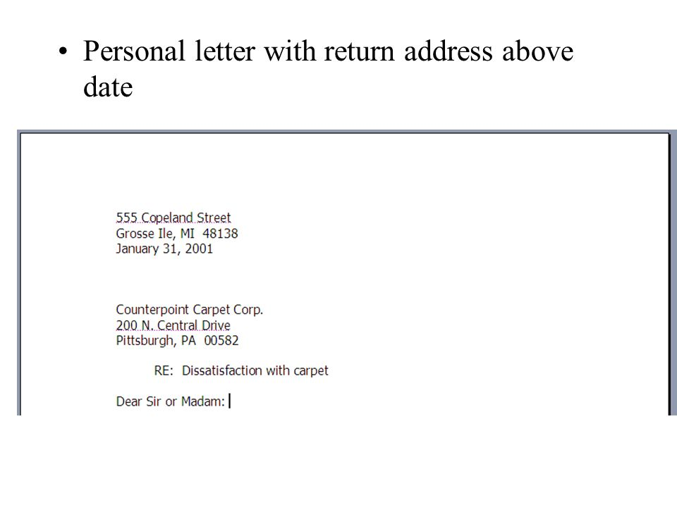 4 personal letter with return address above date