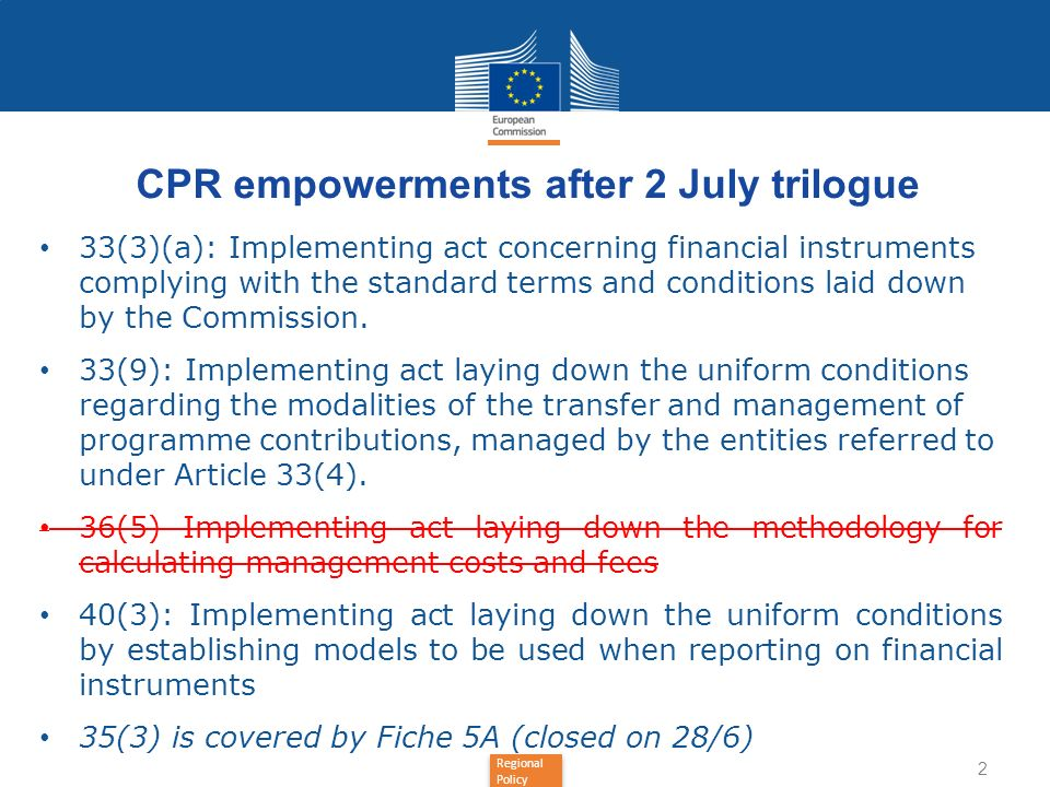 CPR empowerments after 2 July trilogue