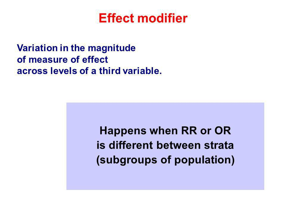 Effect modifier Variation in the magnitude of measure of effect across levels of a third variable.