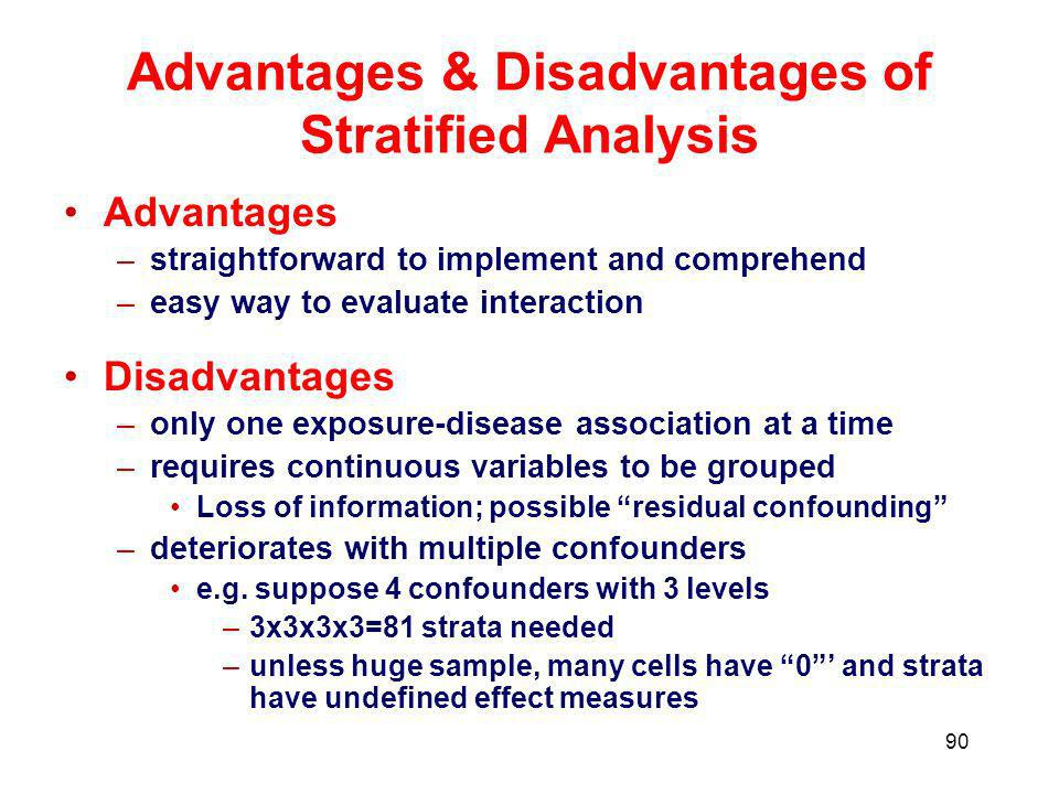 Advantages & Disadvantages of Stratified Analysis