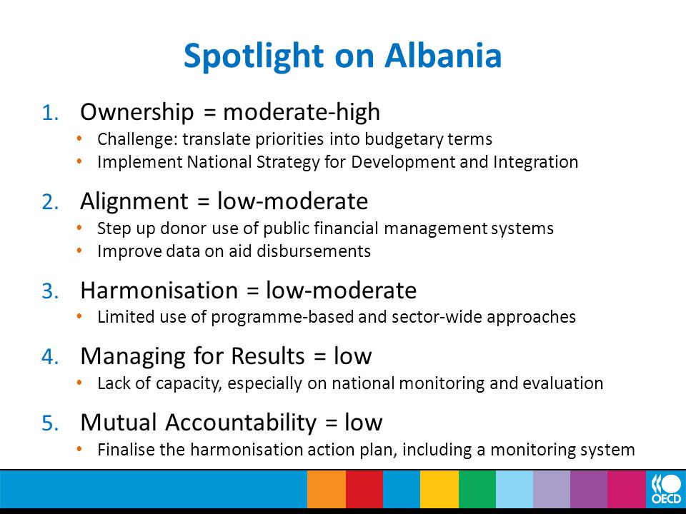 Spotlight on Albania Ownership = moderate-high