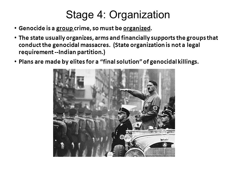 three examples of genocide Genocide- the destruction of a nation or an ethnic group through the existence of a coordinated plan, aimed at total extermination, to be put into effect against individuals chosen as victims purely, simply and exclusively because they are members of the target group (destexhe, 3.